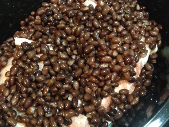 Crockpot Black Beans and Pork Chops