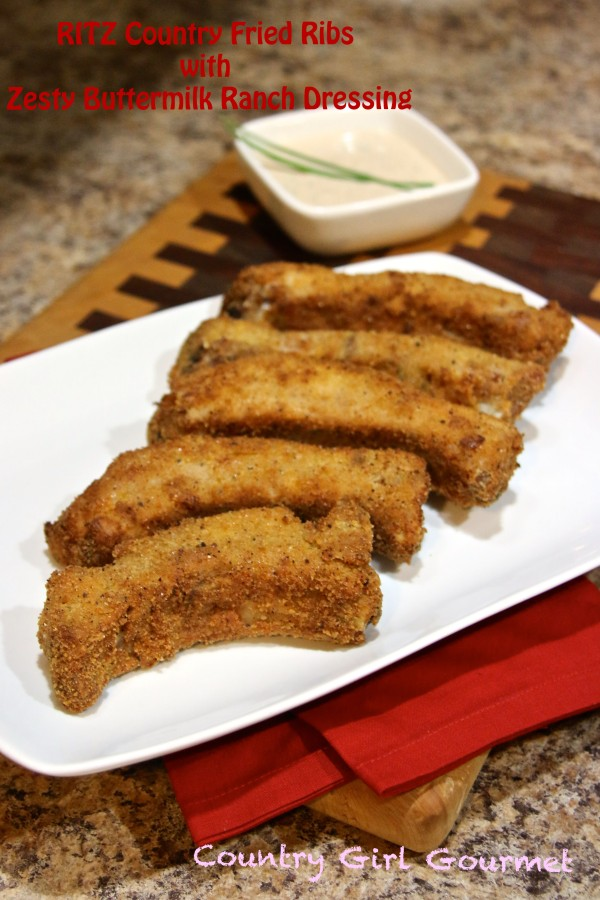 RITZ Country Fried Ribs with Zesty Buttermilk Ranch Dressing | Country Girl Gourmet