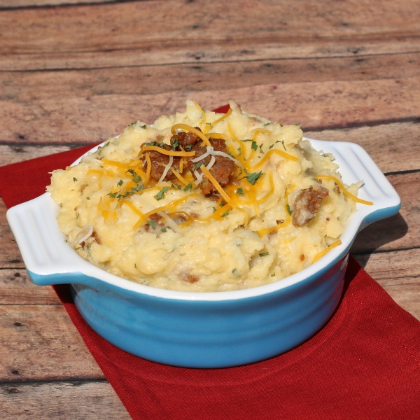 Cheesy Mashed Potatoes with Italian Sausage | Country Girl Gourmet