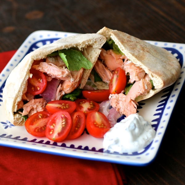 Grilled Salmon Greek Pitas | Country Girl Gourmet
