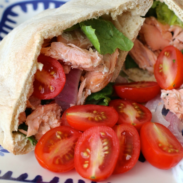Grilled Salmon Greek Pitas | Country Girl Gourmet