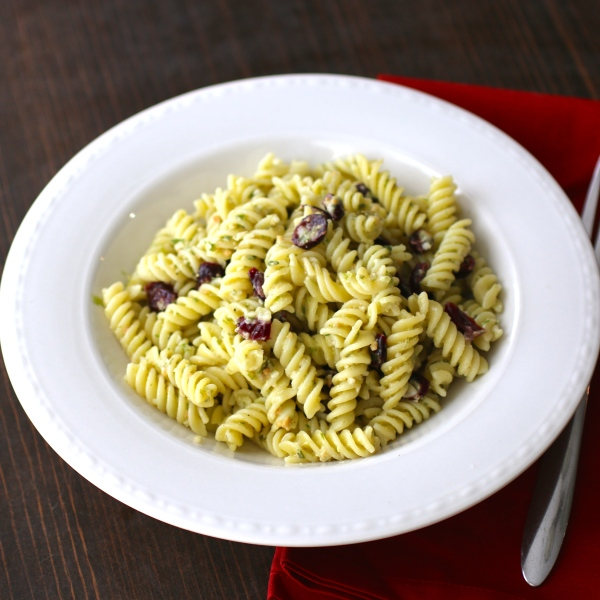 Gluten Free Rotini with a Charred Green Onion Pesto, Toasted Cashews and Cranberries