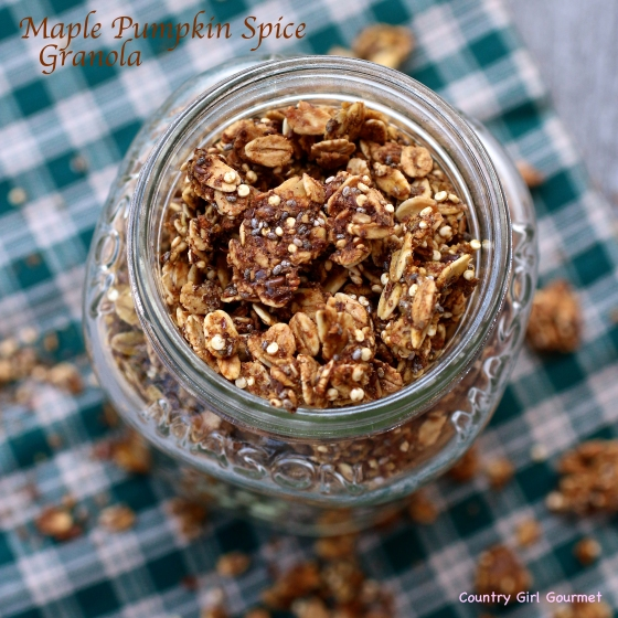 Maple Pumpkin Spice Granola with Chia and Quinoa | Country Girl Gourmet