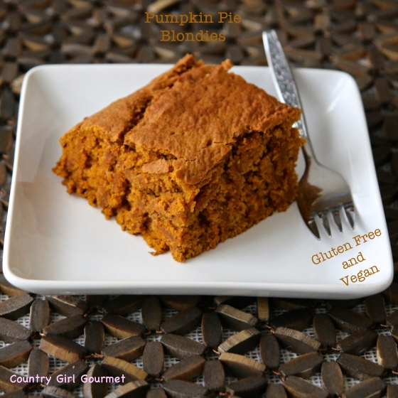 Gluten Free and Vegan Pumpkin Pie Blondies |Country Girl Gourmet